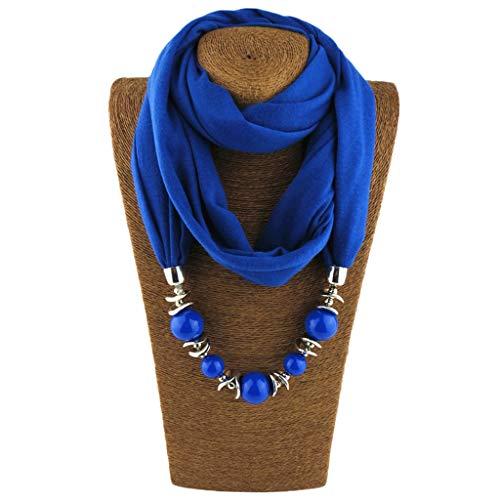 Jagenie womens fashion neckerchief ring sciarpa collane perline scialle di gioielli in tinta unita 10