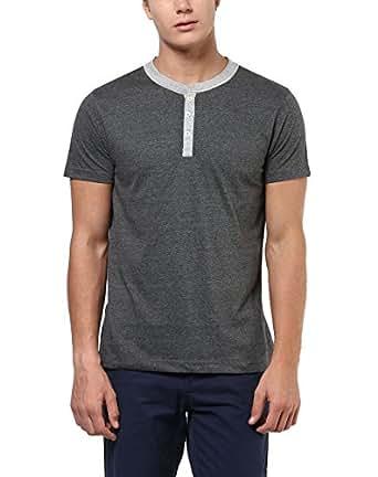 Aventura Outfitters Men's Cotton Blend Henley T-Shirt (AO102-S, Charcoal Melange, Small)