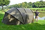 Spyder Tente de pêche à la Carpe XL pour 4 Personnes, Tente de Camping de 200 cm de Haut avec Peau d'hiver, Tapis de Sol, Peau d'hiver et PEGS !! Installation complète.