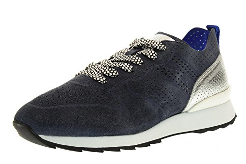 HOGAN REBEL scarpe donna sneakers basse HXW2610X340FS6384O R261 Blu-argento