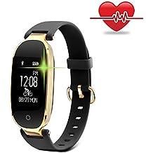 Fitness Tracker para las mujeres Monitores de ritmo cardíaco Seguidores de la actividad de paso Pulsera inteligente Smartwatches IP67 Waterproof Bluetooth Pedometer Wristband con Sleep Monitor para Android y IOS Smartphone, iPhone, Samsung de WOWGO-Negro