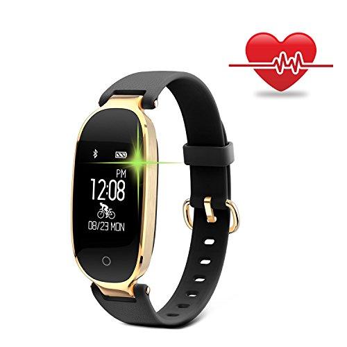 Fitness Armband für Frauen Schrittzähler Fitness Tracker Smartwatch Pulsmesser Fitnessuhr IP68 Wasserdichte Bluetooth Aktivitätstracker Kalorienzähler Herzfrequenzmesser mit Sleep Monitor für Android & IOS Smartphone, iPhone, Samsung von WOWGO (Schwarz)