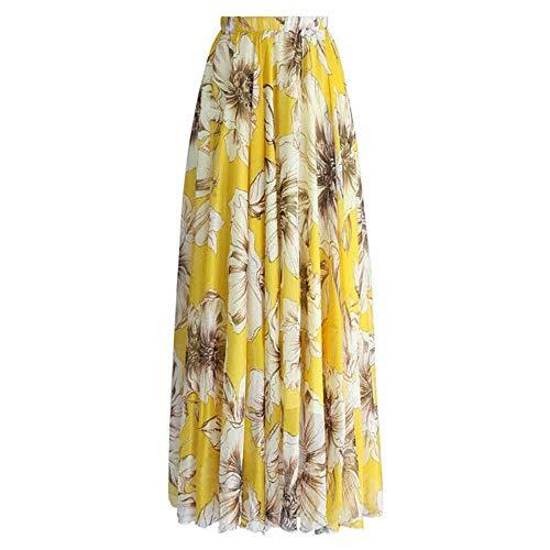 ANFitness Boho Frauen Blume Langer Rock Voller Strand Sunny Röcke Floral Chiffon Geraffte Frauen Rock Sommer Kleidung, Gelb