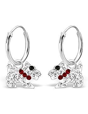 *925 Silber Damen Kinder Ohrringe Creolen Ohrschmuck Hund mit Kristall*