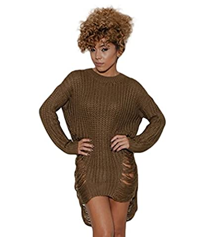 WanYang Knitted Sweater Dress Women's Long Sleeve Crewneck Jumper Pullover Knit Pullover Mini Dress Two Side Hollow Coffee