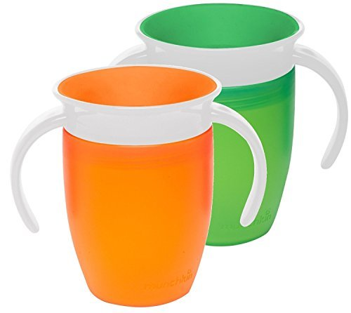 Munchkin Miracle 360 Trainer Cup, Green/Orange, 7 Ounce, 2 Count by Munchkin