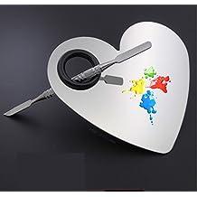 Jushen a forma di cuore in acciaio INOX miscelazione miscelazione palette trucco Tool set (argento)