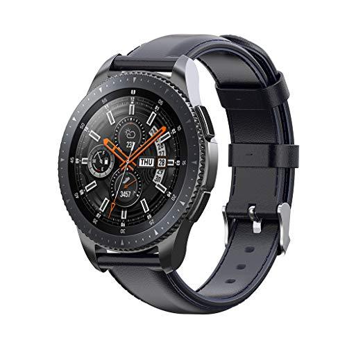 Gear S3 Galaxy Watch 46mm Gear2 Gear2 Neo/Live Armband Minimalistischer Leder Armband mit Edelstahl Verschluss Glättender Weicher Leder Armband Retro Armband (Blau) ()