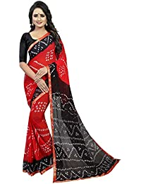 88019b3aef300e Anni Designer Women's Red Color Chiffon Printed Saree Border Lace With  Blouse Piece(BANSARI RED