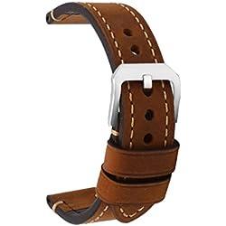 Cinturino Orologi Cuoio Hombres Repuesto Correa Hebilla Pequeña De Acero Inoxidable Compatible Relojes Tradicionales Deportivos Accesorios 22MM Marrón