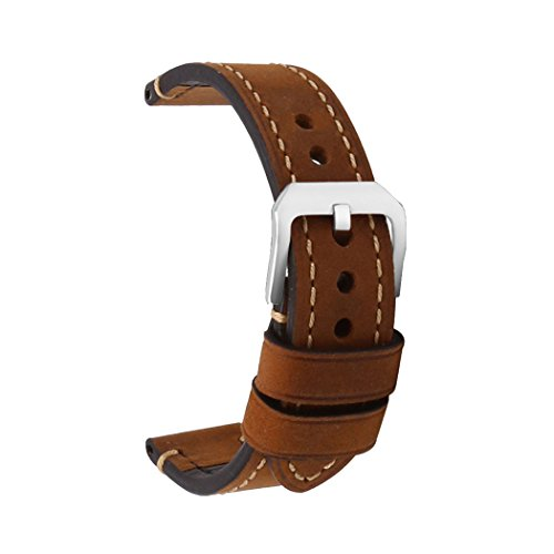 Cinturino Orologi Cuoio Hombres Repuesto Correa Hebilla Pequeña De Acero Inoxidable Compatible Relojes Tradicionales Deportivos Accesorios 26MM Marrón