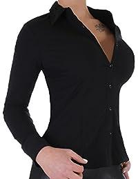 BD Damen Stretch - Business - Bluse Langarm in schwarz oder weiß