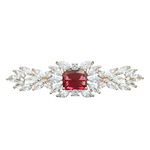 QUKE Damen Gold-Ton Rot Rubin-Farbe Zirkonia Kristall Haar Clip Haarnadel Haarspangen Braut Hochzeit Kopfschmuck Accessoires