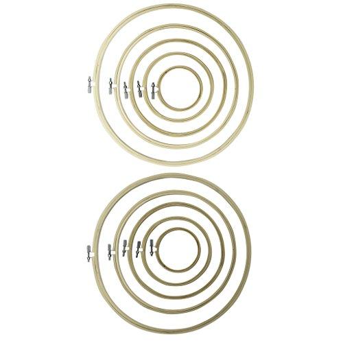 Curtzy 10 Stück handgefertigte, runde Holz-Stickrahmen – Bambus-Stickrahmen zum Nähen, für Tapisserie und Nadelarbeiten - großartiges Set für Anfänger und Profis