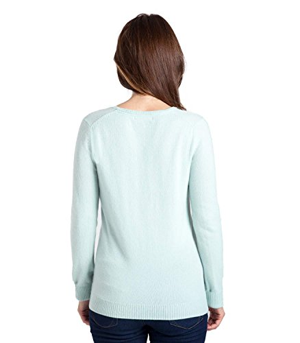 WoolOvers Pull à col V - Femme - Pur Cachemire Dusty Mint