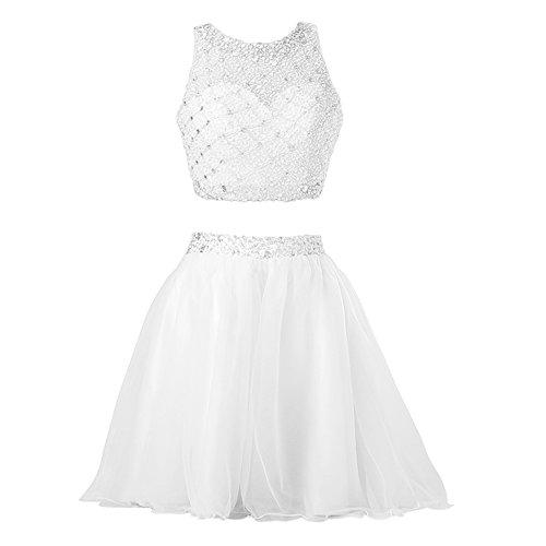 Callmelady® Robe de Cocktail Courte Robe de Soirée Deux Pieces Robes Femme Élégante 2017 Blanc