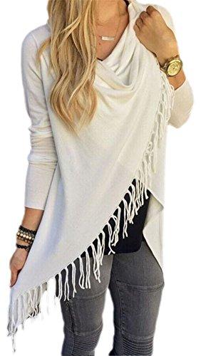 Lewi Brun - Damen Cardigan Fransen Shirt , S, Weiß (Frauen Leggings Versandkostenfrei)