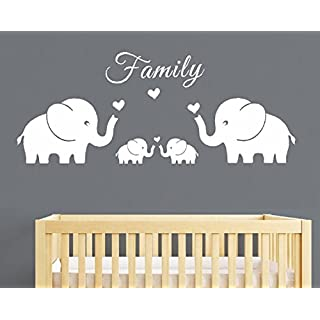 AIYANG Four Elephants Family Wall Decal Love Hearts Family Words Baby Twins Vinyl Wall Decal Sticker For Baby Nursery Room Decor (Large 56''x20''inch, White)