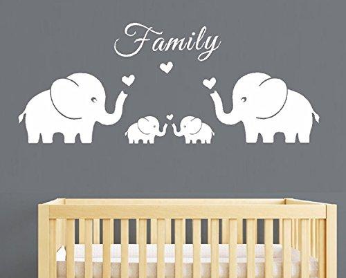 Los padres de familia y cuatro elefantes gemelos Wall Decal Sticker para...