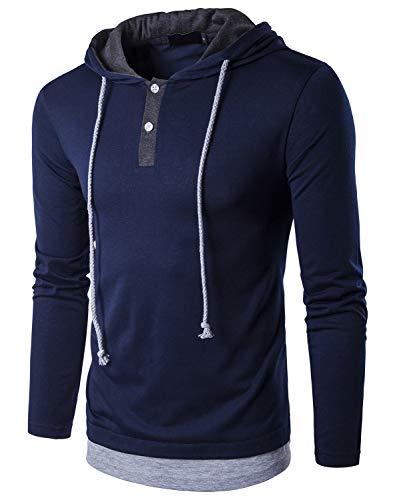 Tyhengta Herren Casual Langarm T-Shirt Slim Fit Henley Hoodie Shirts - Blau - Groß Sleeve Henley Hoodie -