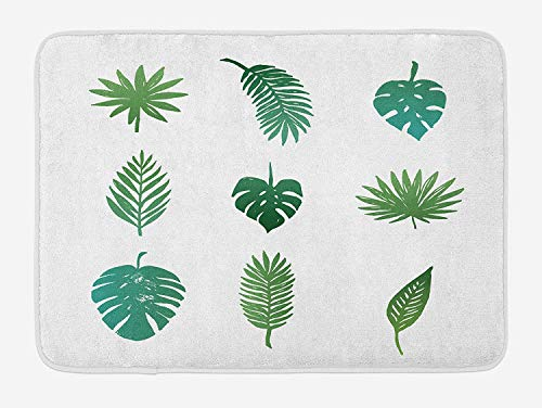 CHKWYN Palm Tree Bath Mat, Tropical Paradise Island Nature Theme Hand Drawn Collection Palm Foliage, Plush Bathroom Decor Mat with Non Slip Backing, 23.6 W X 15.7 W Inches, Green and White
