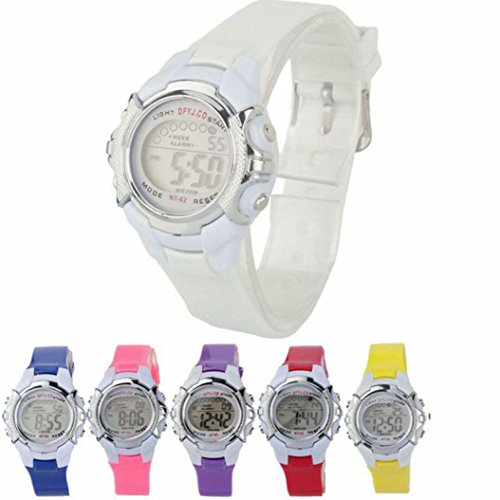 FeixiangModa NiñOs Digitales Led Cuarzo Alarma Fecha Deportes Reloj Pulsera De Movimiento Deportivo Reloj (Rosa, A)