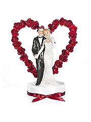Idea Regalo - PartyDeco Statuina Coppia di Sposi con Cuore e Rose, Cake Topper, Bianco e Nero, 15 cm