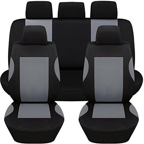 Hamimelon Universal Auto Autositzabdeckung Autositzbezuege KFZ PKW Sitzbezuege Schonbezuege Bezug Sitzschoner Sitzschutz Schutz Komplettset Grau Kurve (Auto Für Sitzbezüge)