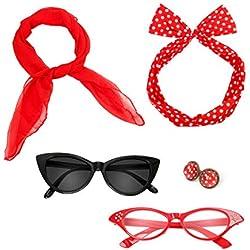 Nofonda Accesorios Estilo Lunares Retro de Los Años 50, Diadema + Bufanda + Gafas + Pendientes, Perfecto para Traje de Lujo para Mujeres, Damas, Niños (Rojo)