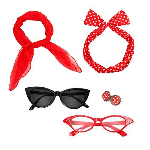 Nofonda 50er 60er Polka Dot Kostüm Zubehör Set Halstuch Katze Brille Bandana Haarband und Ohrringe Retro-Look für Mädchen Damen Frauen (rot)