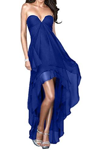 Milano Bride Charment Hi-Lo Traegerlos Abenkleider Ballkleider Partykleider Kleider Einfach Rueschen Kurz Royalblau