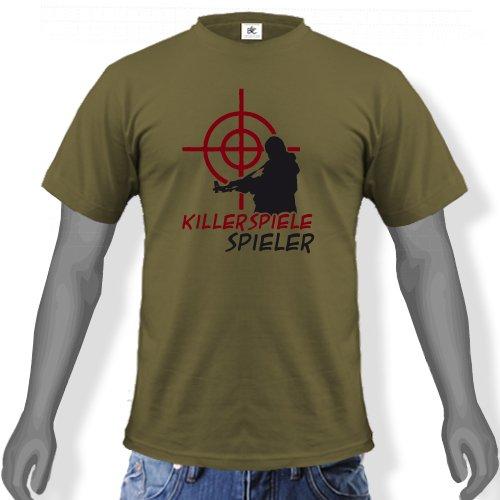 KILLERSPIELE SPIELER - STYLE FUNSHIRT - Unisex Fun T-Shirt Army Gr. XXL