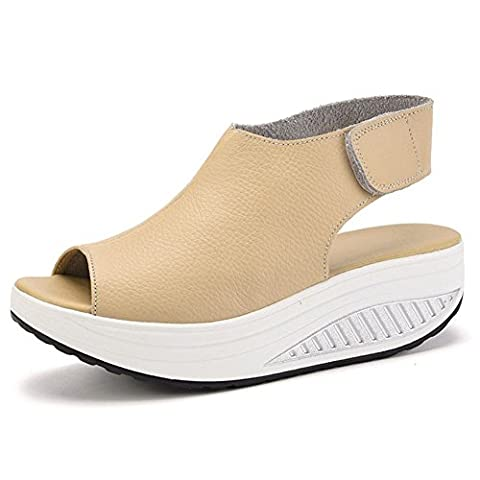 XMeden Women's Leather Comfort Peep Toe Walking Wedges Sandals Shape Ups Platform Heeled Shoes Sneakers