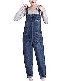Kasen Donna Salopette in Jeans Dritto Vita Alta Sciolto Tuta Pantaloni  Bavaglino Jumpsuit e2894997a38