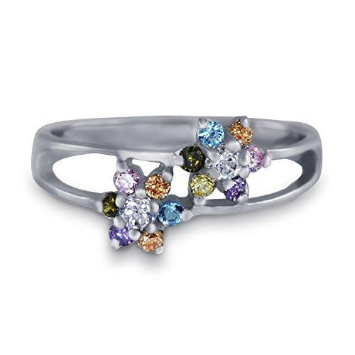 CRIGER Damen Schmuck, bunter Blumen-Ring aus 925 Sterling Silber rhodiniert & Nickelfrei inkl. Etui-Geschenkbox, Ringgröße:52 (16.5 mm Ø)