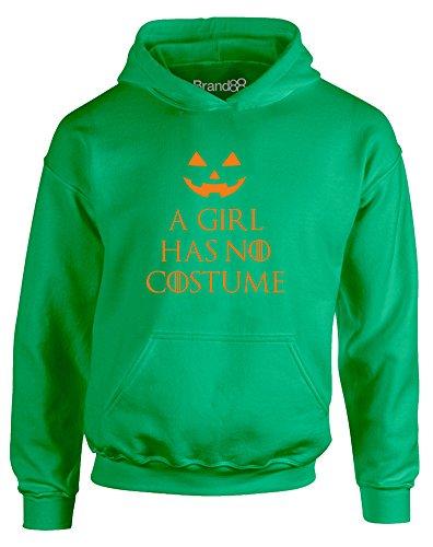 A Girl Has No Costume, Gedruckt Kinder Kapuzenpullover - Grün/Orange 5-6 Jahre