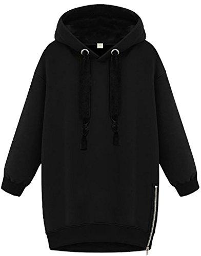 Manche Longue Sweat-Shirt Pulls Femme Automne-Hiver Hoodie Sweaters Chic Zip Latéral Sweats à Capuche Sweater Blouses Noir