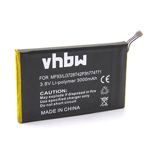 vhbw Li-Polymer Akku 3000mAh (3.7V) für Hotspot Mobile Router WiFi T-Mobile Z915, MF915, SRQ-MF915 wie Li3728T42P3h774771.