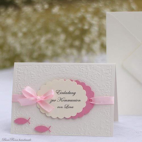 12 personalisierte Einladungskarten Taufeinladung Einladung zur Taufe Einsegnung Kommunion Konfirmation Firmung Fische rosa creme Mädchen Handarbeit binnbonn