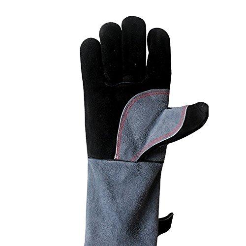 HANSHI - HCT09 - Gants de travail à long poignets 400 mm Doublure coton avec coutures Kevlar Résistants à la chaleur Pour travaux de métallurgie, four, barbecue