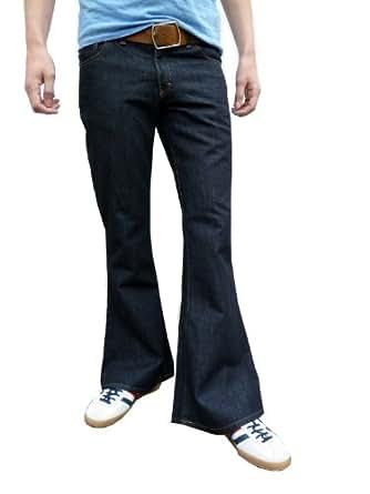 mens denim bell bottom vintage style retro jeans indigo All sizes (30W 30L)