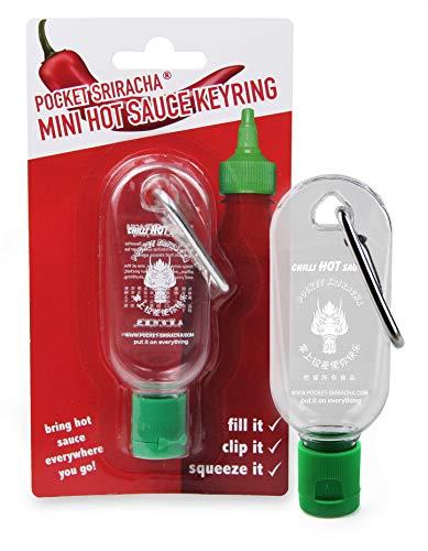 Mini Sriracha Taschen Flasche - Hot Chili Sauce Schlüsselanhänger - Deine Heiße Soße Für Unterwegs - 1 PACK (ohne Inhalt) - 35 ML Kapazität - Für Reisen Wandern Ausflug Camping Feier Party Büro 1 Pack-tasche