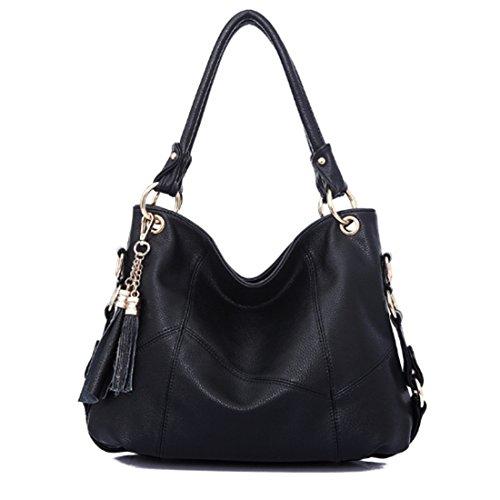 FOLLOWUS Damen Handtaschen Schultertasche Umhängetasche Designer Tote Bag Hobos Bag (Schwarz) (Tote Designer-handtasche Bag)