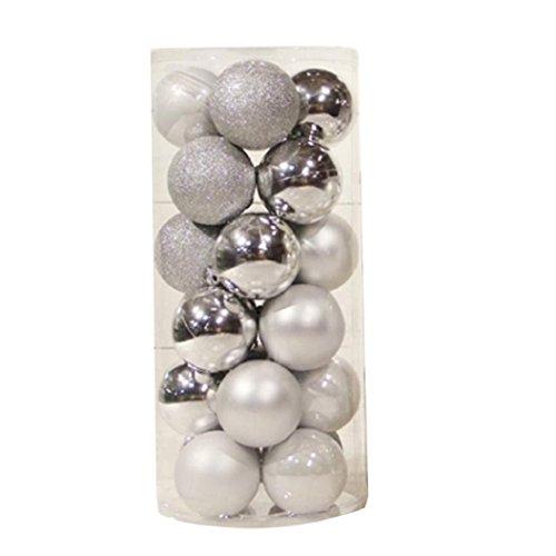 Pu ran®, palle ornamentali rotonde da appendere, decorazioni per albero di natale, 24 pezzi