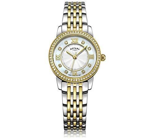 Rotary - Orologio da donna placcato in oro bicolore con cristalli