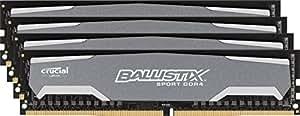 Ballistix Sport 16GB Kit (4GBx4) DDR4 2400 MT/s (PC4-19200) Single Rank DIMM 288-Pin - BLS4C4G4D240FSA