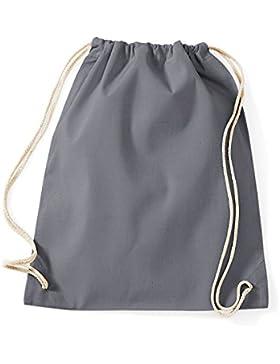 Turnbeutel unbedruckt aus Baumwolle 12 Farben verfügbar Sportbeutel (grau)