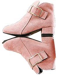 2020 Botas de Princesa para niñas otoño e Invierno cómodas Botas cálidas de Gamuza de Moda tacón Cuadrado Suave Princesa Botas de Nieve Negro Rojo Rosa