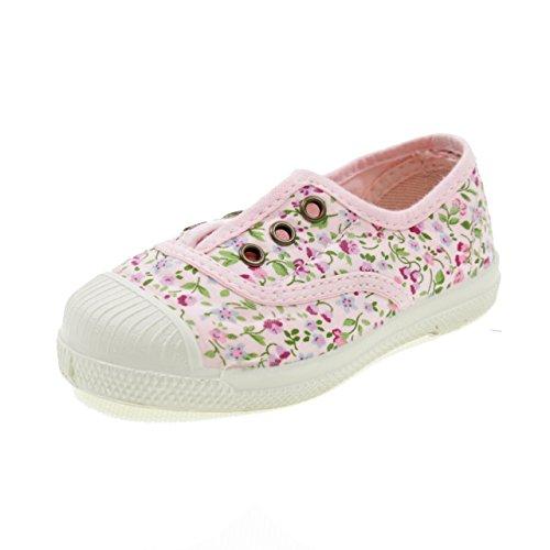 Natural World Chaussures en Coton avec Fleurs Fond DE Caoutchouc 471541 Rose Taille: 21