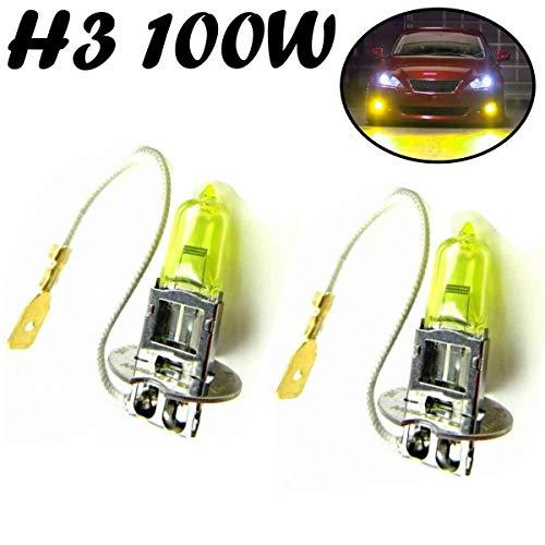 2x H3 100W 12V Gelb Aqua Vision Yellow Original Jurmann Trade Ersatz Halogen Birne für Scheinwerfer, Fernlicht, Abblendlicht, Nebelleuchte vorne - Off-Road